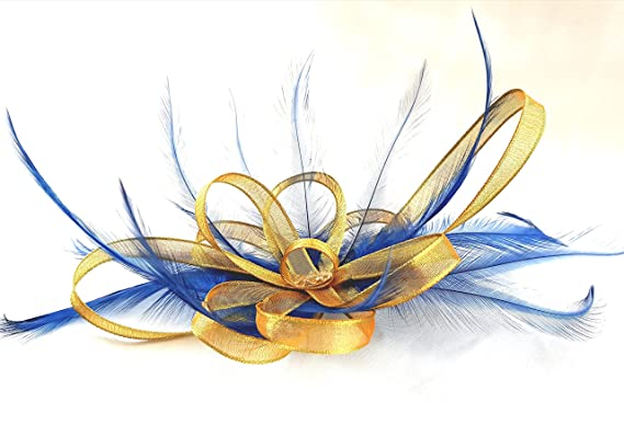 acb531c4d3 Gold   Navy Blue Feathers Hair Fascinator Comb Made in UK  Amazon.co ...