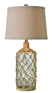 Kenroy Home Captain Table Lamp, Clear Textured Glass with Rope Wrap