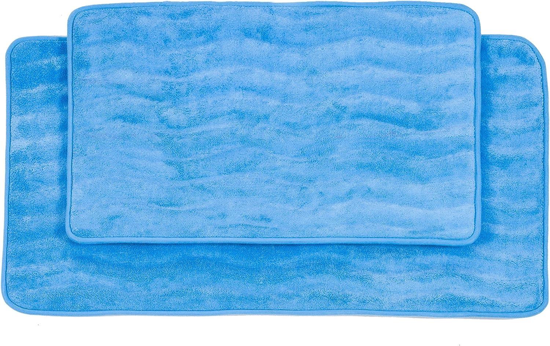Bedford Home 2-Piece Memory Foam Bath Mat Set, Blue