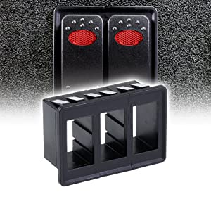 ONLINE LED STORE 3-Slot Rocker Switch Panel [Industry Standard Fit] [Heavy Duty] [Expandable Design] [Professional Look] Automotive Mount Toggle Switch Housing