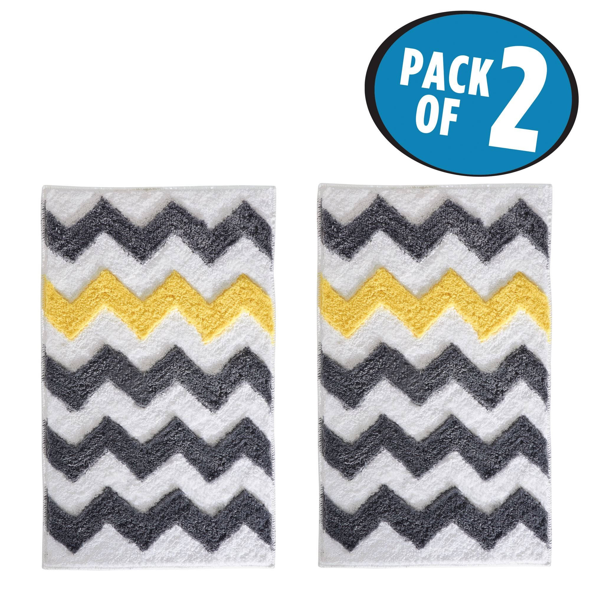mDesign Soft Microfiber Polyester Non-Slip Rectangular Spa Mat Rug, Plush Water Absorbent, Chevron Pattern - for Bathroom Vanity, Bathtub/Shower, Machine Washable - 34'' x 21'' - Pack of 2, Gray/Yellow