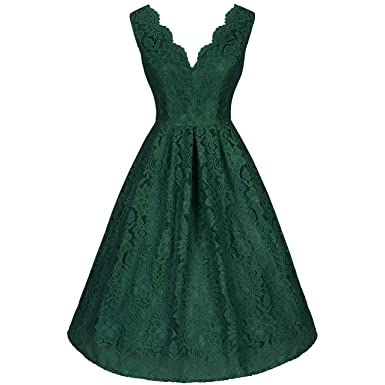 9d909c6b6e0 Pretty Kitty Fashion Emerald Green Lace Cocktail Dress  Amazon.co.uk   Clothing