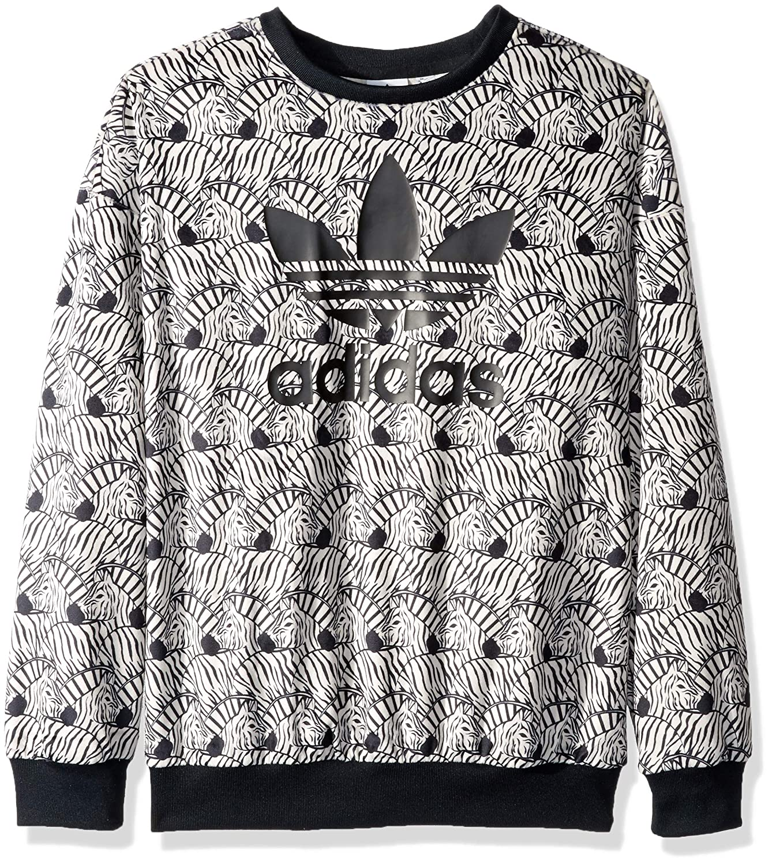 adidas Originals Girls' Zebra Print Crew