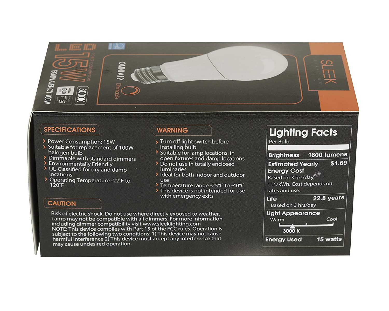 - General-Purpose Household Lighting Bulb -Warm White E26 100W Equivalent SleekLighting 15W A19 Dimmable LED Lightbulb 3000k 6 Pack - 1600lm 240 Degree UL /& Energy Star Listed