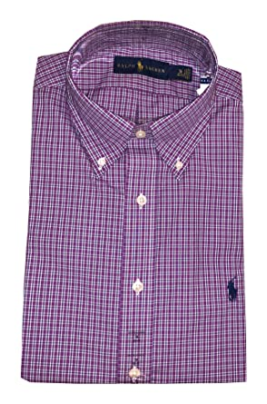 RALPH LAUREN Polo Mens Standard-Fit Pony Logo Dress Shirt (Purple Muave,  14.5