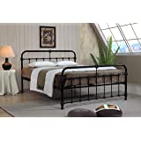 Mandy Double Metal Bed Frame Black Hospital Style Small Double King Size Beds (4FT6 Double)