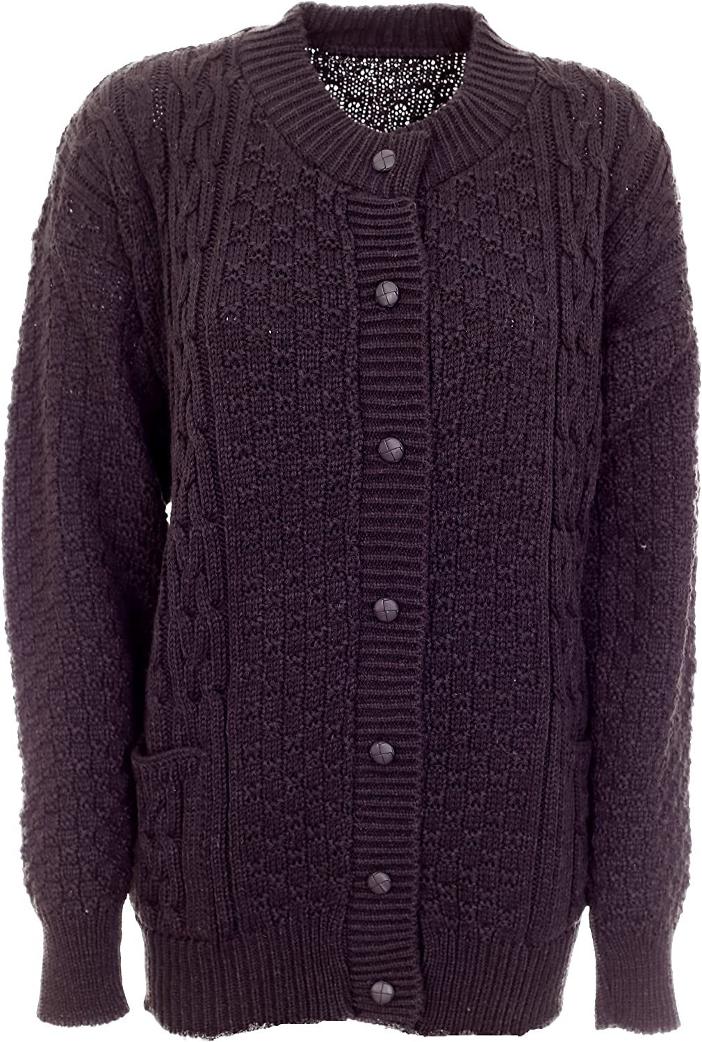 Lets Shop Shop Women Ladies Chunky Cable Knit Long Sleeve Aran Crew Neck Cardigan Plus Size 16 18 20