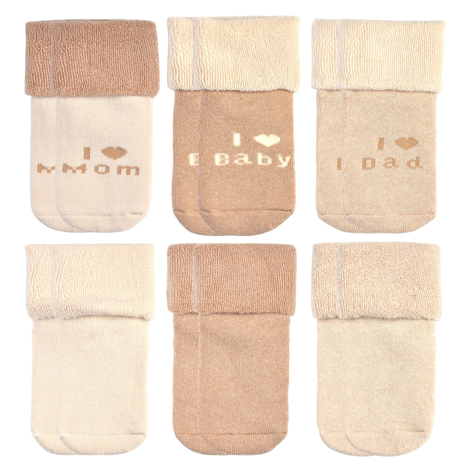 Epeius Unisex-Baby Newborn Organic Cotton Socks for 0-6 Months,Super Soft Cotton Terry Booties (Pack of 6),Beige,I Love Dad I Love Mom