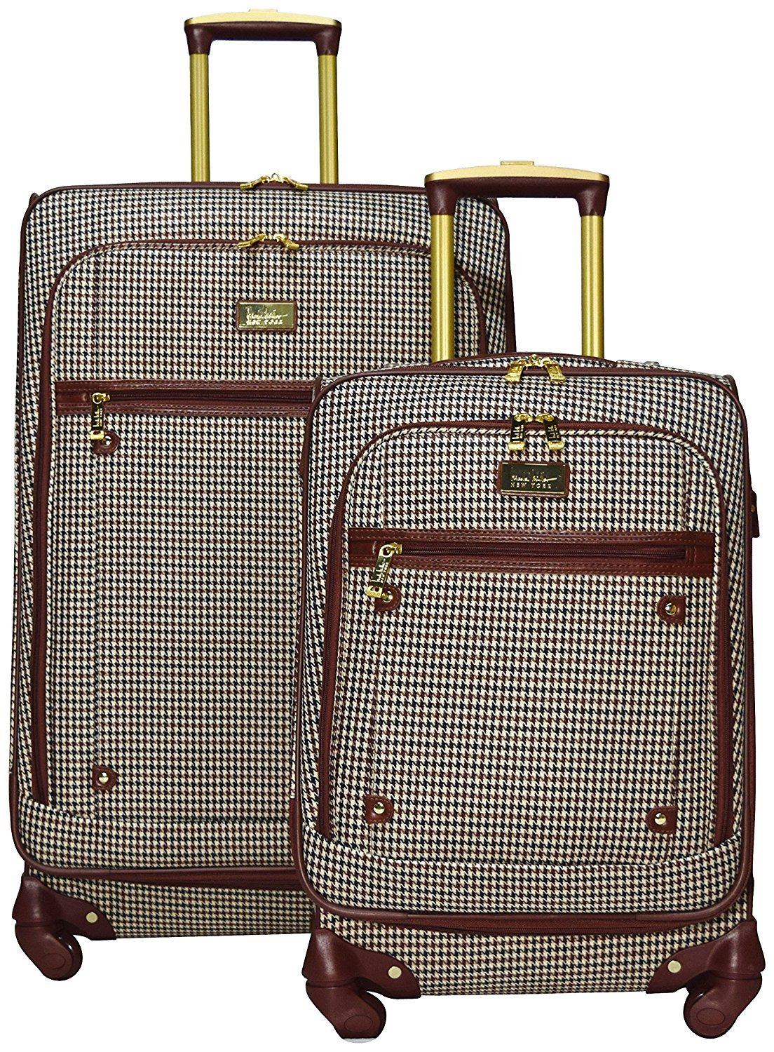 Nicole Miller New York Taylor 2-Piece Luggage Set: 24'' and 20'' Spinners (Brown Plaid)