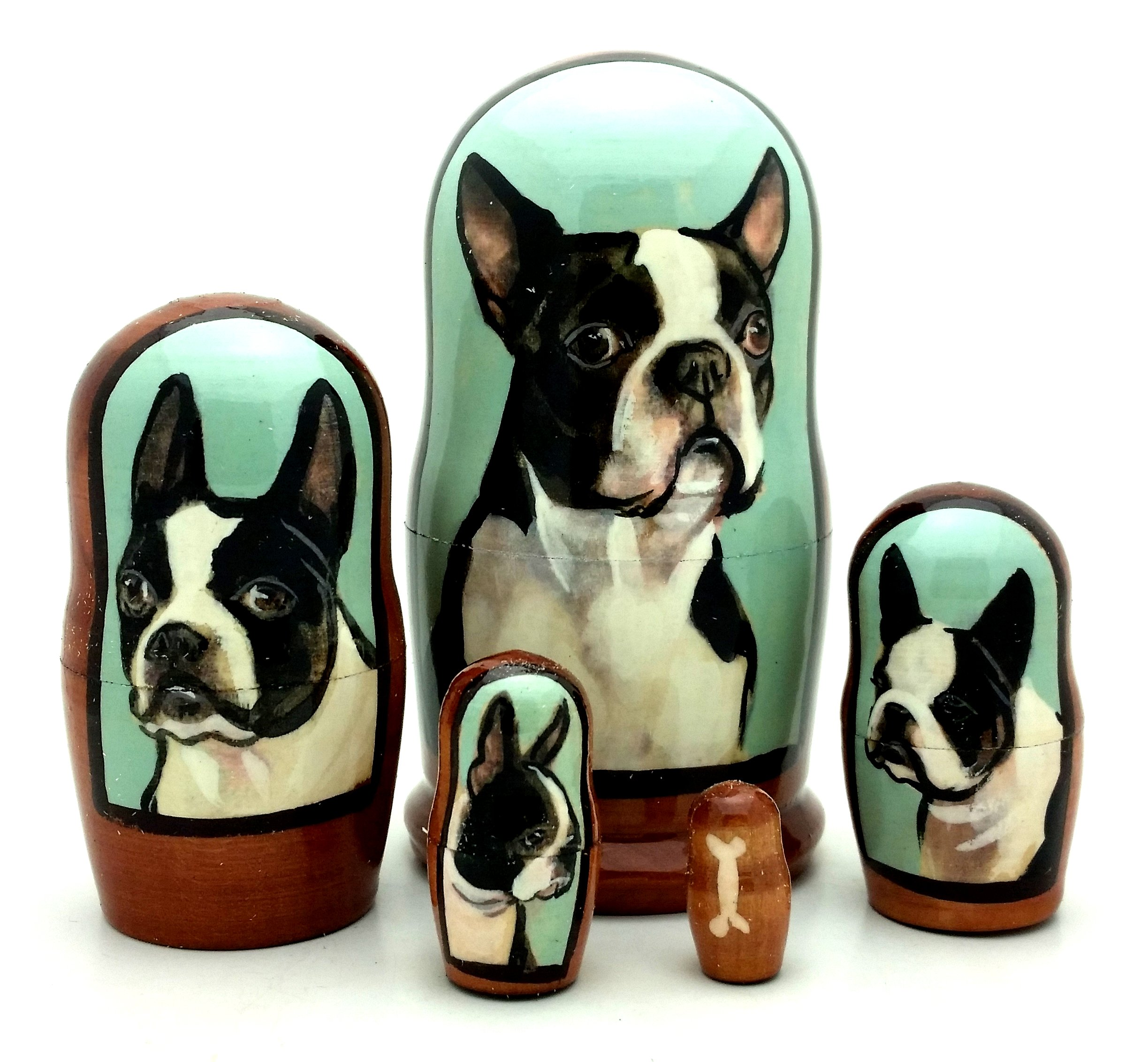 Boston Terrier dog breed nesting dolls Russian Hand made 5 piece matryoshka Set 7''H