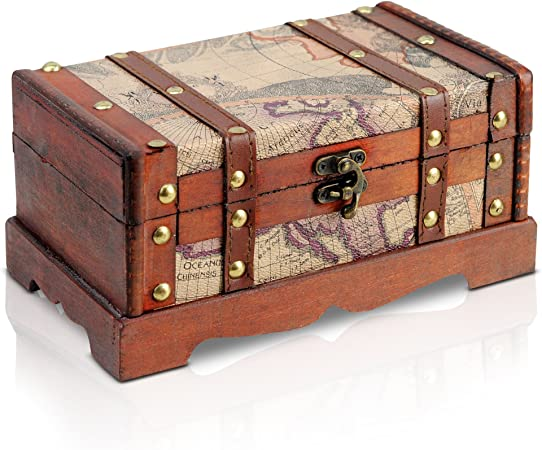 Brynnberg - Caja de Madera Cofre del Tesoro Pirata de Estilo Vintage, Hecha a Mano, Diseño Retro 23x13x12cm: Amazon.es: Bricolaje y herramientas