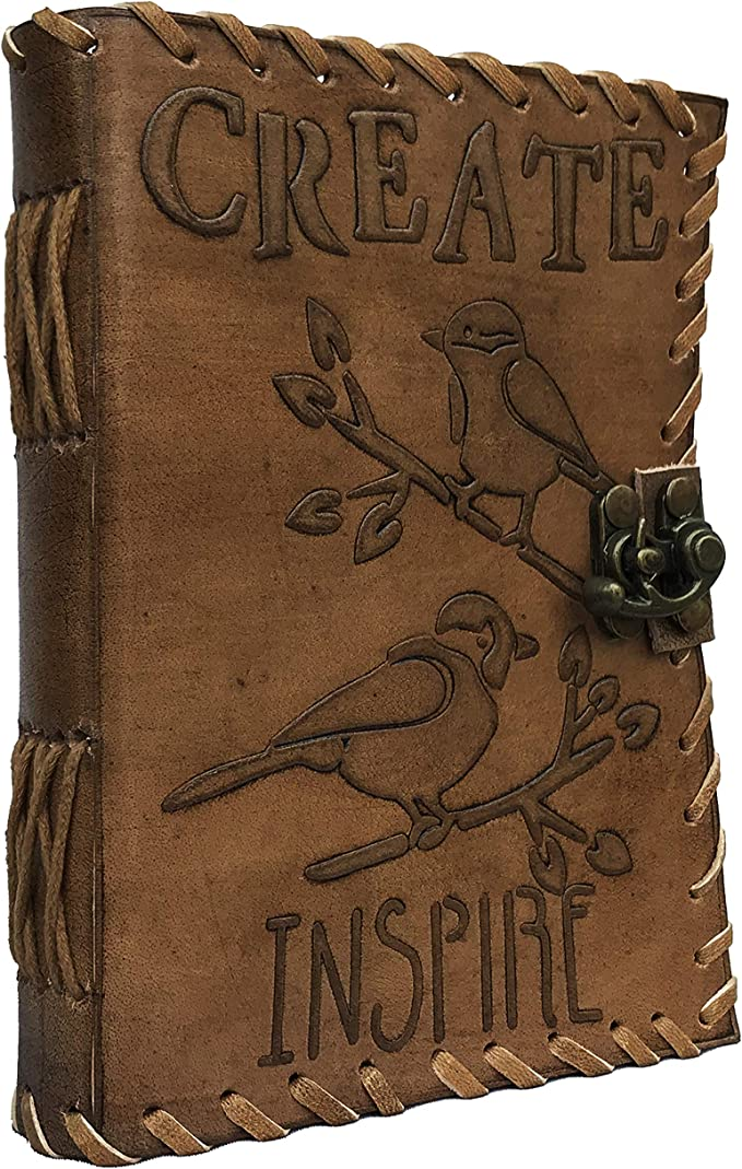 Vintage Bird Embossed Blank Book Sketchbook Notebook Leather Journal Instagram Photo Album Handmade Paper Coptic Bound With Lock Closure Notebook