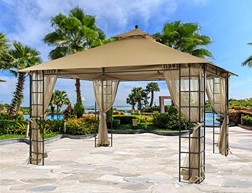 APEX GARDEN 10 ft. x 12 ft. Melody Gazebo with Mosquito Net