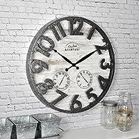 """FirsTime 31038 Shiplap Outdoor Wall Clock, 18"""", Light Gray"""