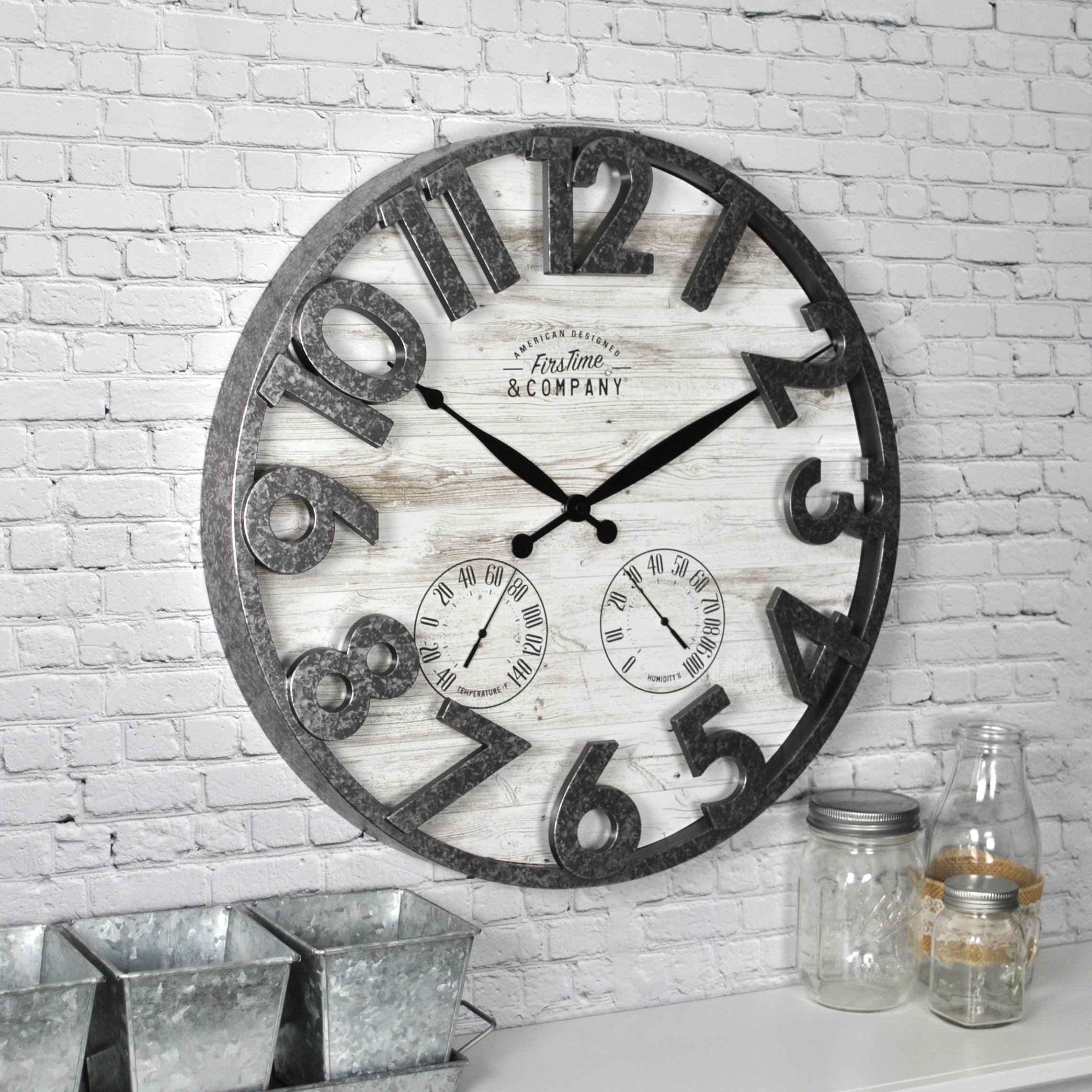 FirsTime & Co. 31038 Shiplap Outdoor Wall Clock, 18'', Light Gray by FirsTime & Co.