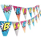 Superhero Pink Happy Birthday Banner Pennant