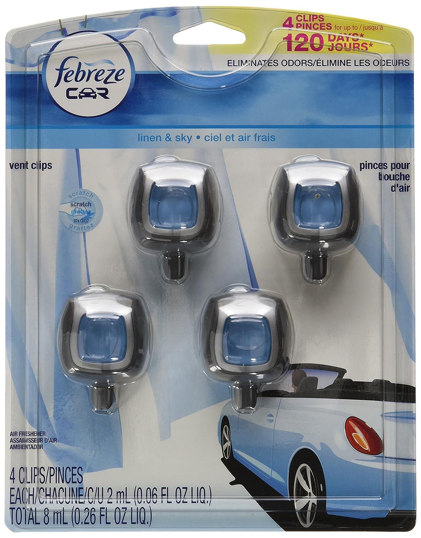 Febreze Car Vent Clip Heavy Duty Crisp Clean Air Freshener, 4 Count BHBUSAZIN026824