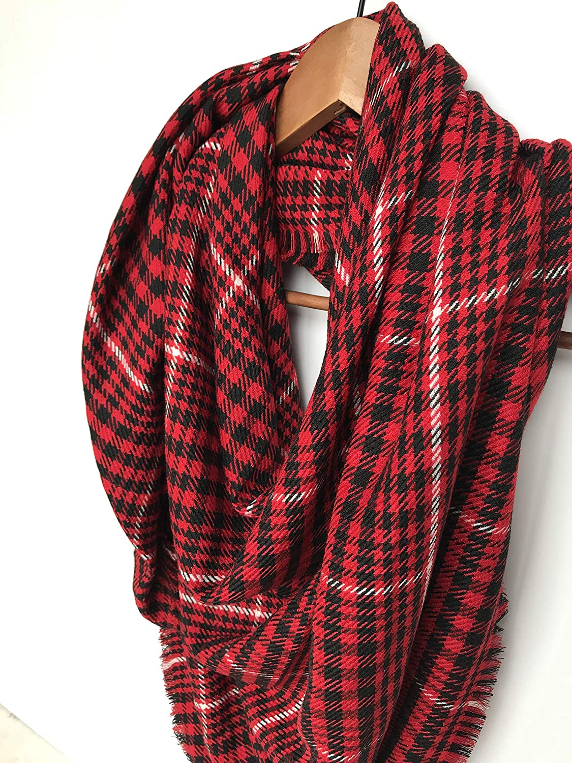 Blanket Scarf Red Plaid Scarf Gift For Daughter