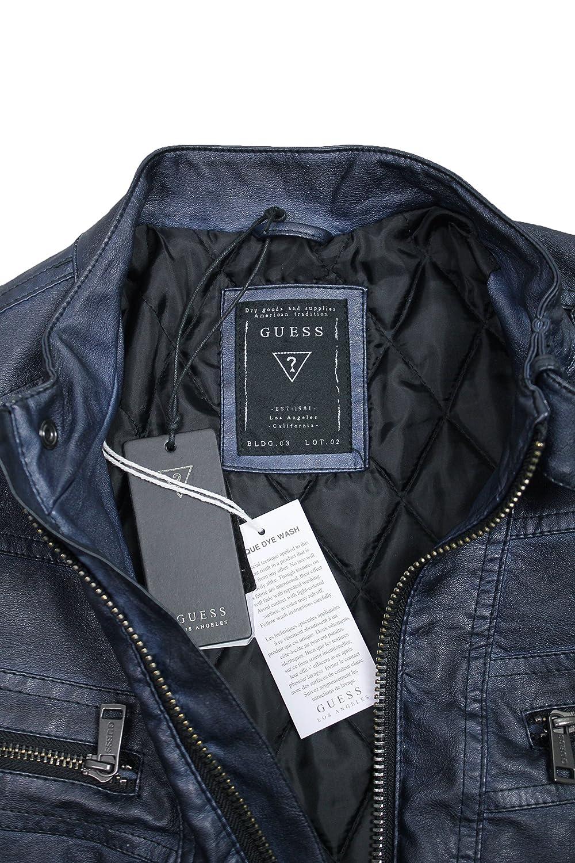 sale retailer b306e bf787 Pelle Scuro Casual Uomo Giubbino Guess Blu Original Di ...