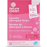 Nature Clean Laundry Detergent Sheets, 32 Loads, Hypoallergenic, Dermatologist Tested,Wildflower, Biodegradable, Zero Plastic