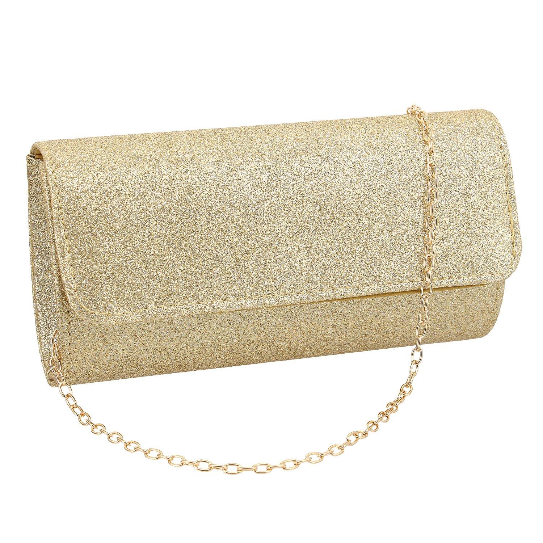 Gabrine Womens Evening Shoulder Bag Handbag Clutch Shiny Sequins for Wedding Party(Gold)