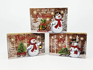 SeasonsEasy LED Lighted Snowflakes and Snowman Sleds Wooden Block Plaques with Auto Timer, Set of 3 Christmas Decor Wall Signs or Tabletop Decorations Battery-Operated Light-Up