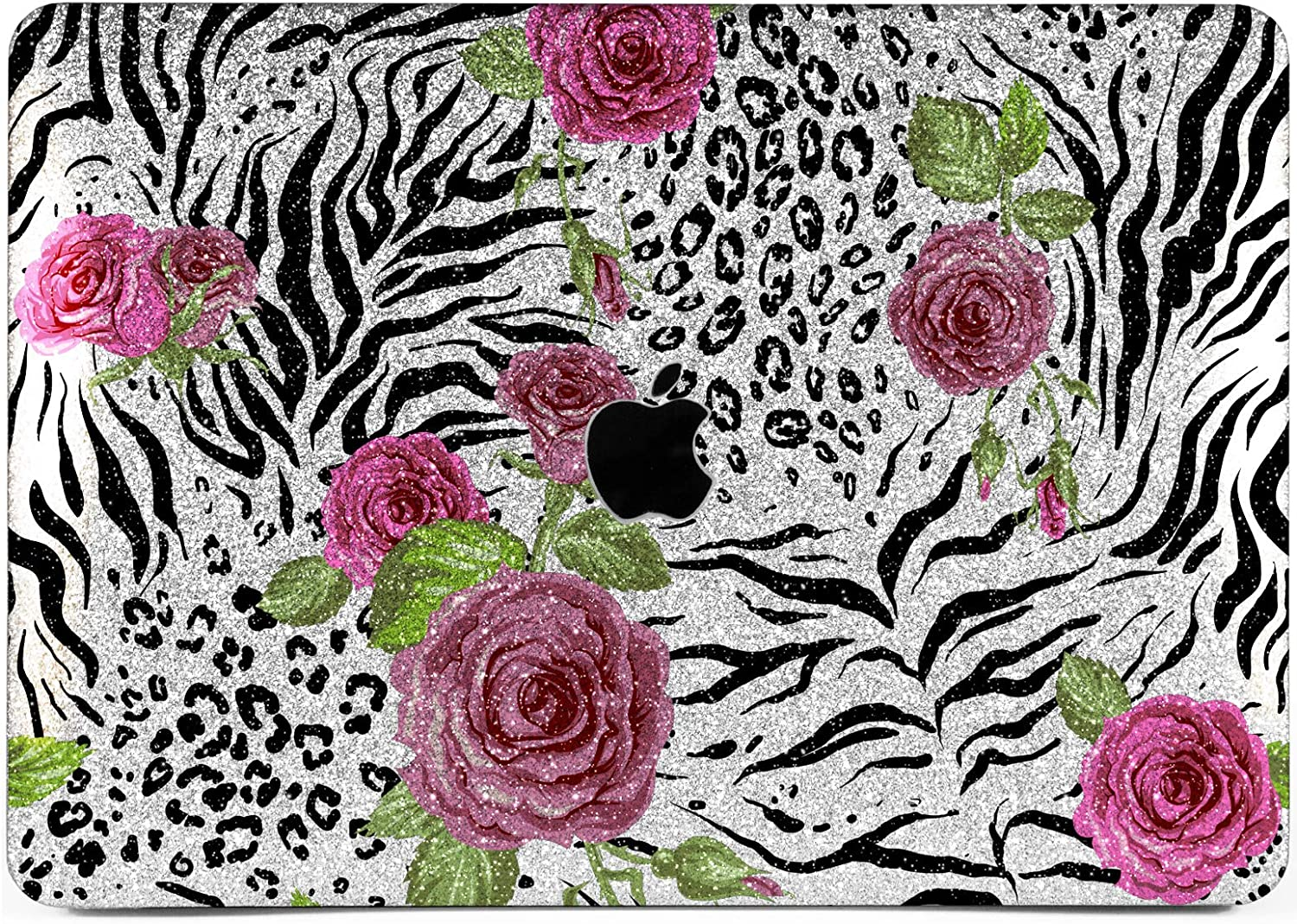 """Cavka Hard Glitter Case for Apple MacBook Pro 13"""" 2019 Retina 15"""" Mac Air 11"""" Mac 12"""" Bling Shiny Roses Pattern Rose Gold Girl Zebra Silver Cute Pink Floral Luxury Print Cover Glossy Design Sparkly"""