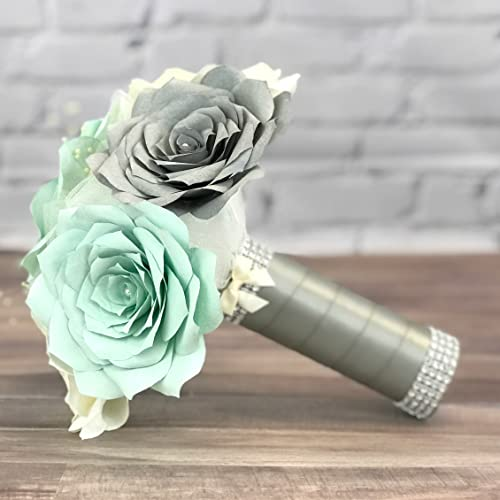 Amazon.com: Mint Green and Grey Paper Rose Wedding Bouquet: Handmade