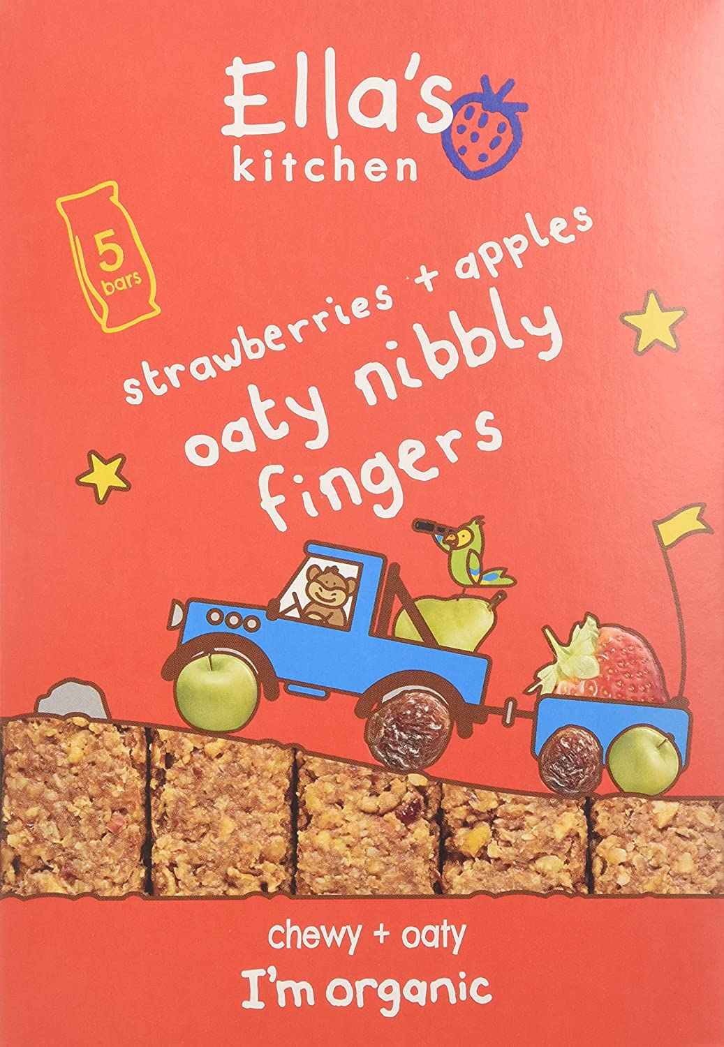 Ella's Kitchen Organic Strawberries and Apples Nibbly Fingers 125 g (Pack of 4) Ella's Kitchen ELL-EK152