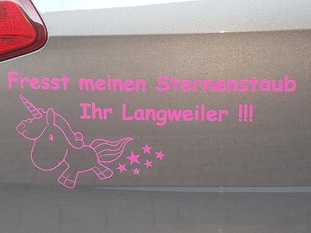 Sunshineplot Aufkleber Brandneu Einhorn Fresst meinen Sternenstaub Ihr Langweiler!!! 13 x 33cm (Pink)