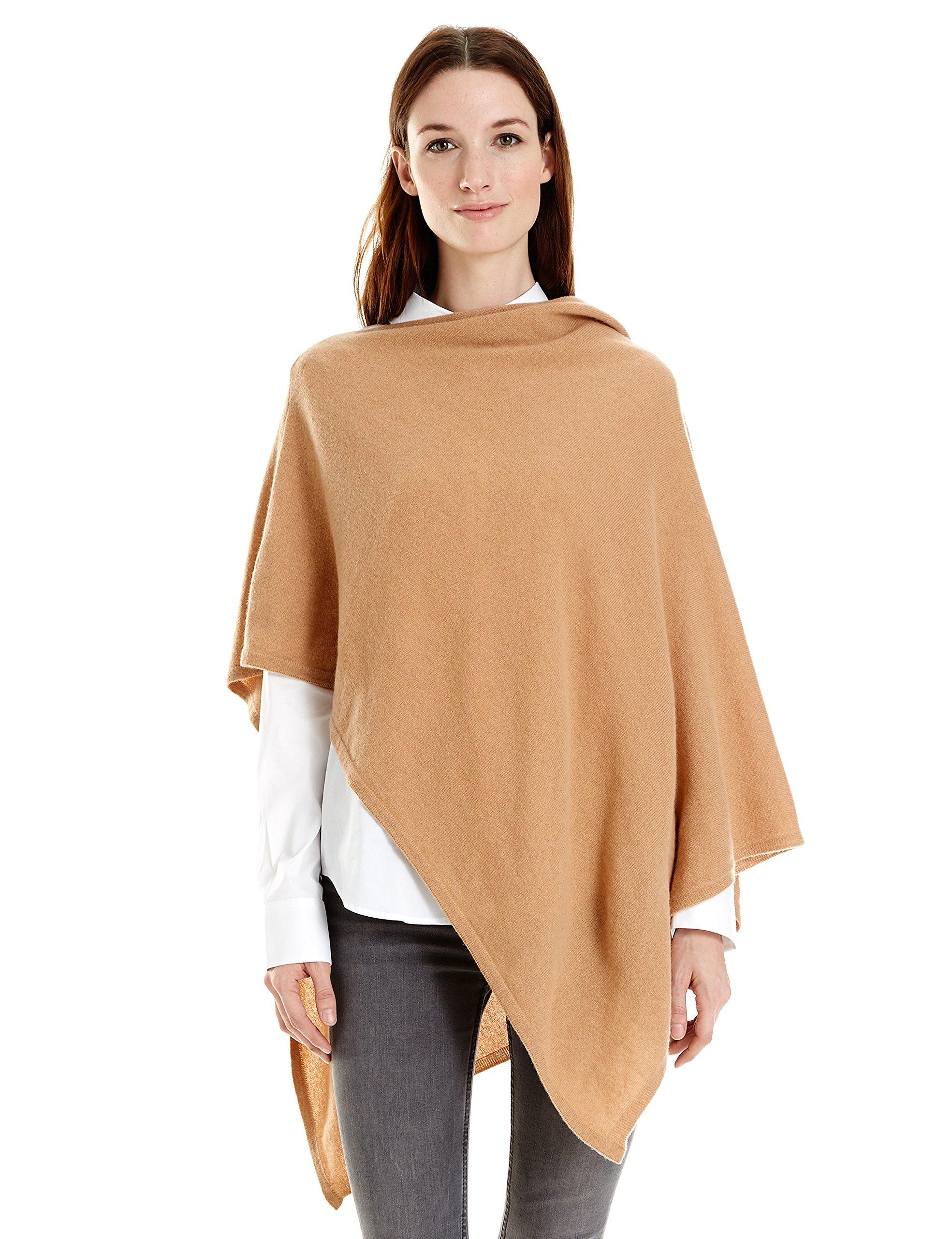 New York Cashmere 100% Pure Cashmere Draped Poncho (Camel)