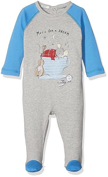 United Colors of Benetton Pyjama Overall with Print, Pantalones de Pijama para Bebés, Gris