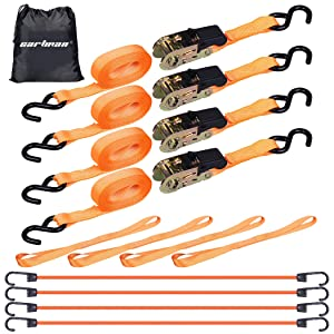 """CARTMAN 1"""" x 15' Ratchet Tie Down up to 1500lbs 4pk in Carry Bag, with 18"""" Soft Loop Tie-Down Straps & 32"""" bungee cord"""