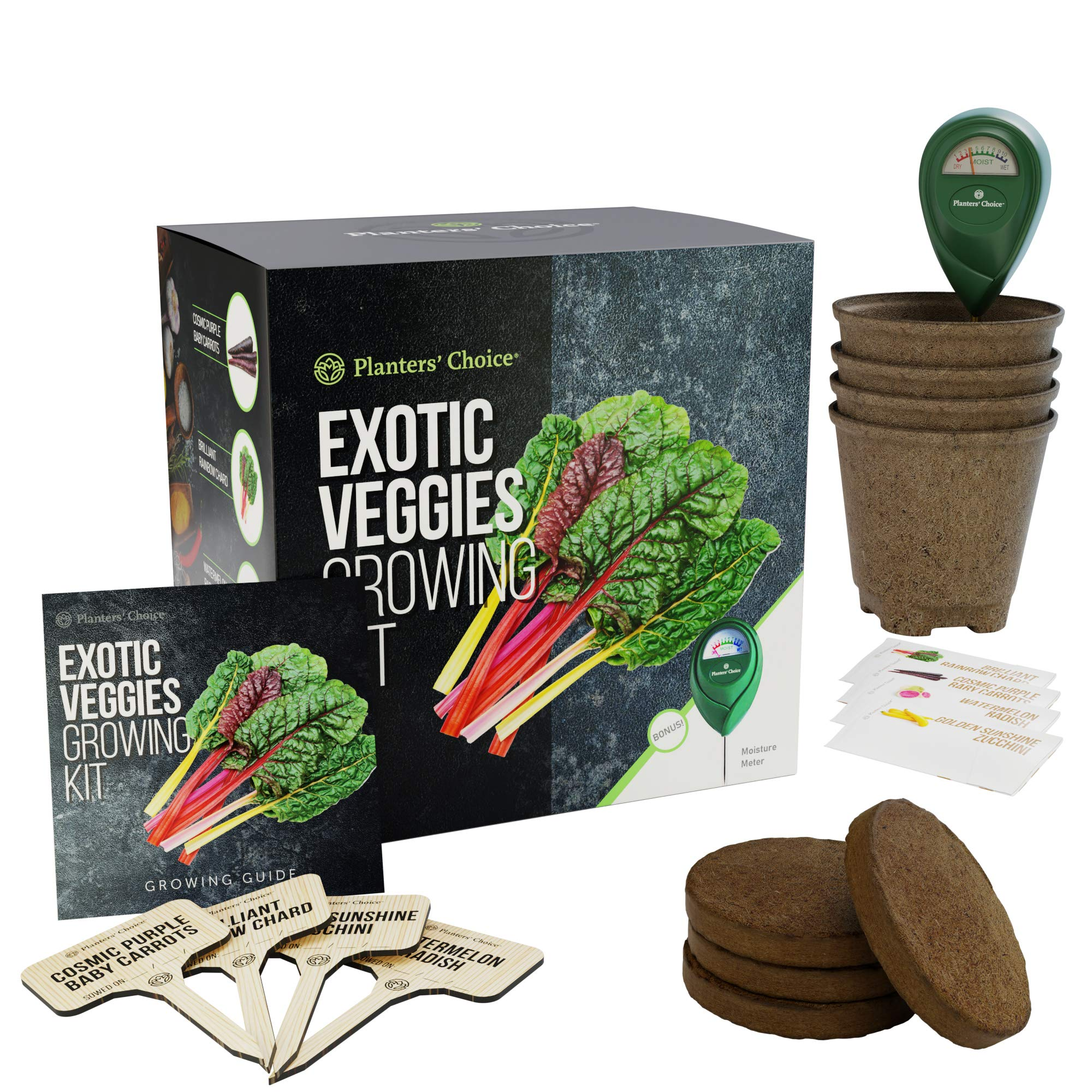 Exotic Veggies Growing Kit - Everything Included to Easily Grow 4 Unique Vegetables from Seed - Carrots, Chard, Radish, Zucchini + Moisture Meter by Planters' Choice (Image #1)