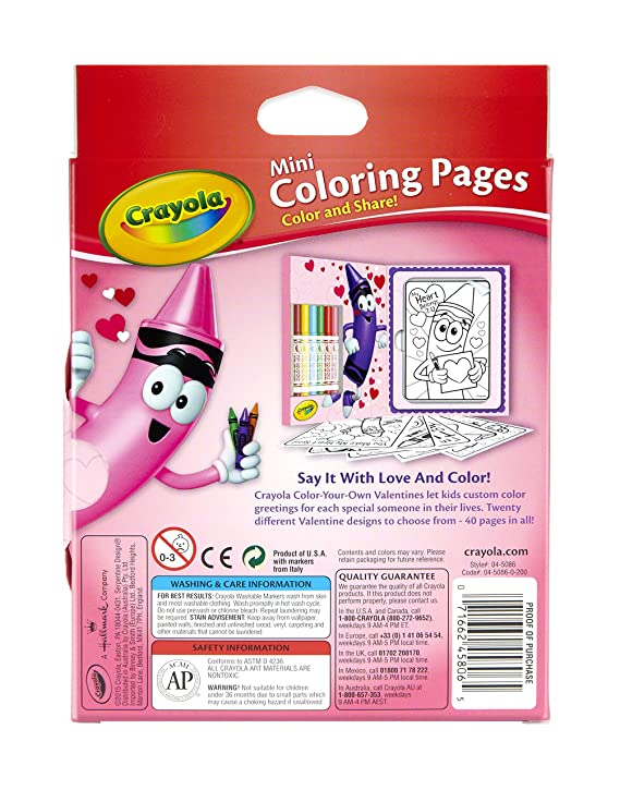 Amazon.com: Crayola Valentine\'s Day Mini Coloring Pages & Markers ...