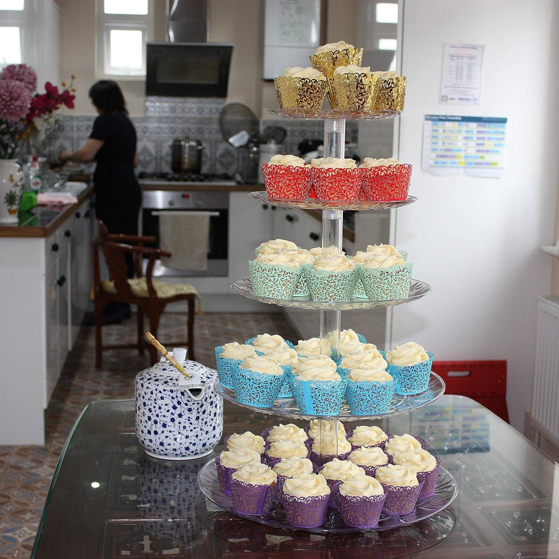 5 Tier Cake Stand For Cupcake Wedding Cake Food Fruit Display Amazon Co Uk Kitchen Home