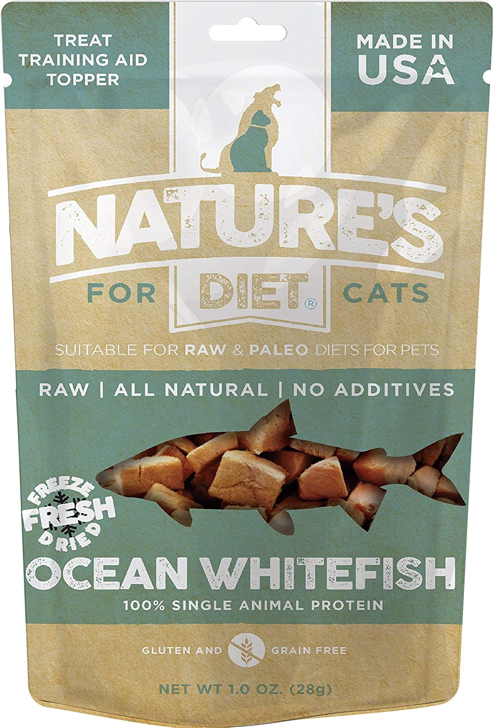 Nature's Diet Pet Raw All Meat Freeze Dried Grain Free Cat Treats, Topper, Meal Boost Mixer (Ocean Whitefish)