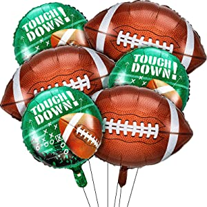 6 Pieces Football Balloons Set, 3 Pieces Football Field Balloons and 3 Pieces Football Foil Balloons for Tailgate Game Day Football Theme Supplies Birthday Party Decorations