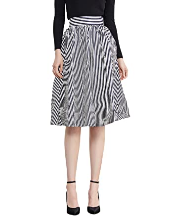 Simple Retro Women's Stripe Skirt 1950s Vintage A Line Skirt with ...