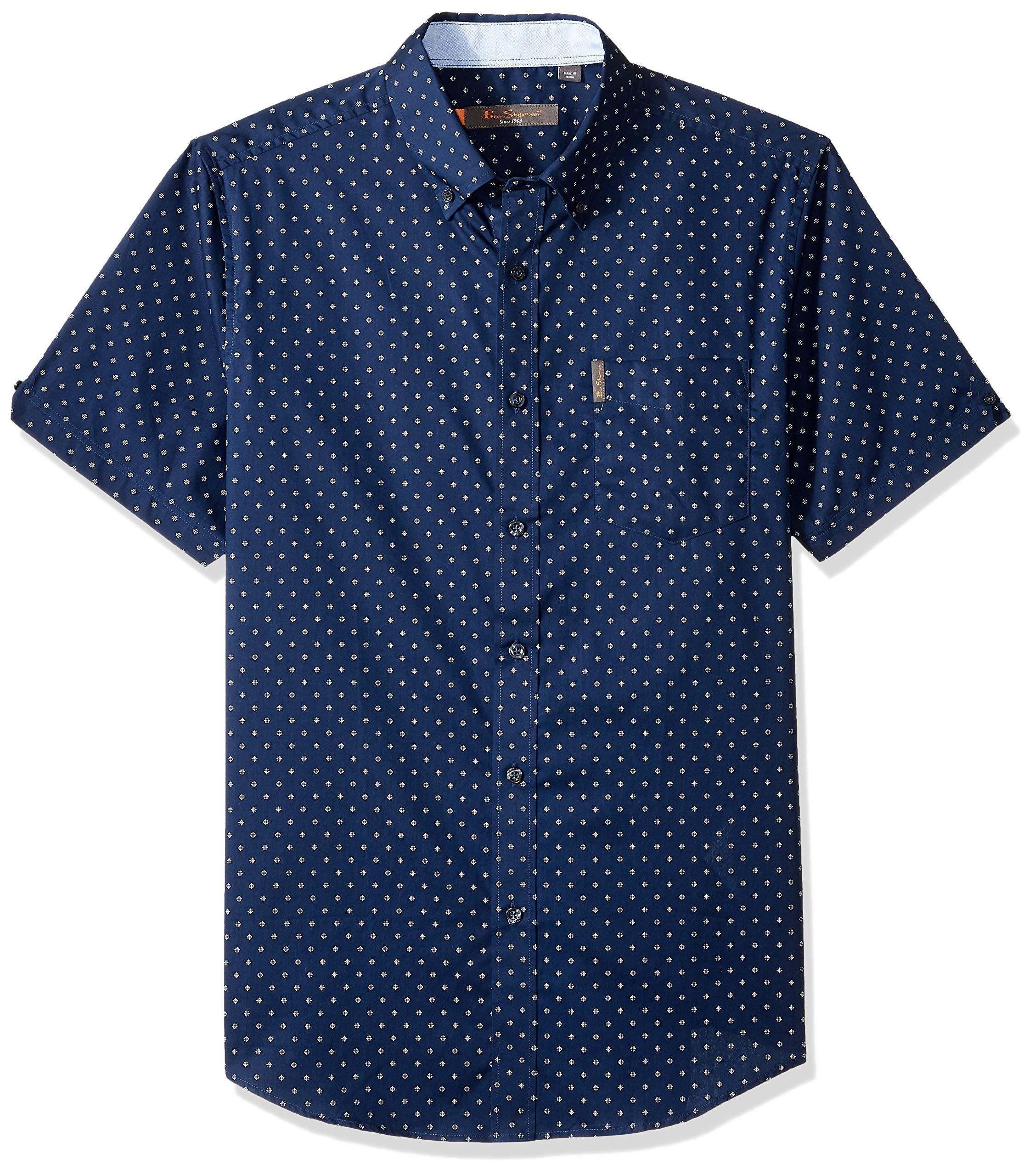 Ben Sherman Men's SS Starburst Print Shirt, Navy, L