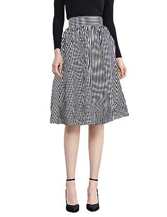 Simple Retro de la mujer Midi falda Vintage una línea Falda con ...