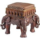 Design Toscano The Maharajah's Elephants Sculptural Upholstered Footstool
