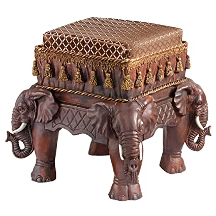 Design Toscano Maharajah Elephants Indian Decor Upholstered Footstool, 13  Inch, Polyresin, Woodtone