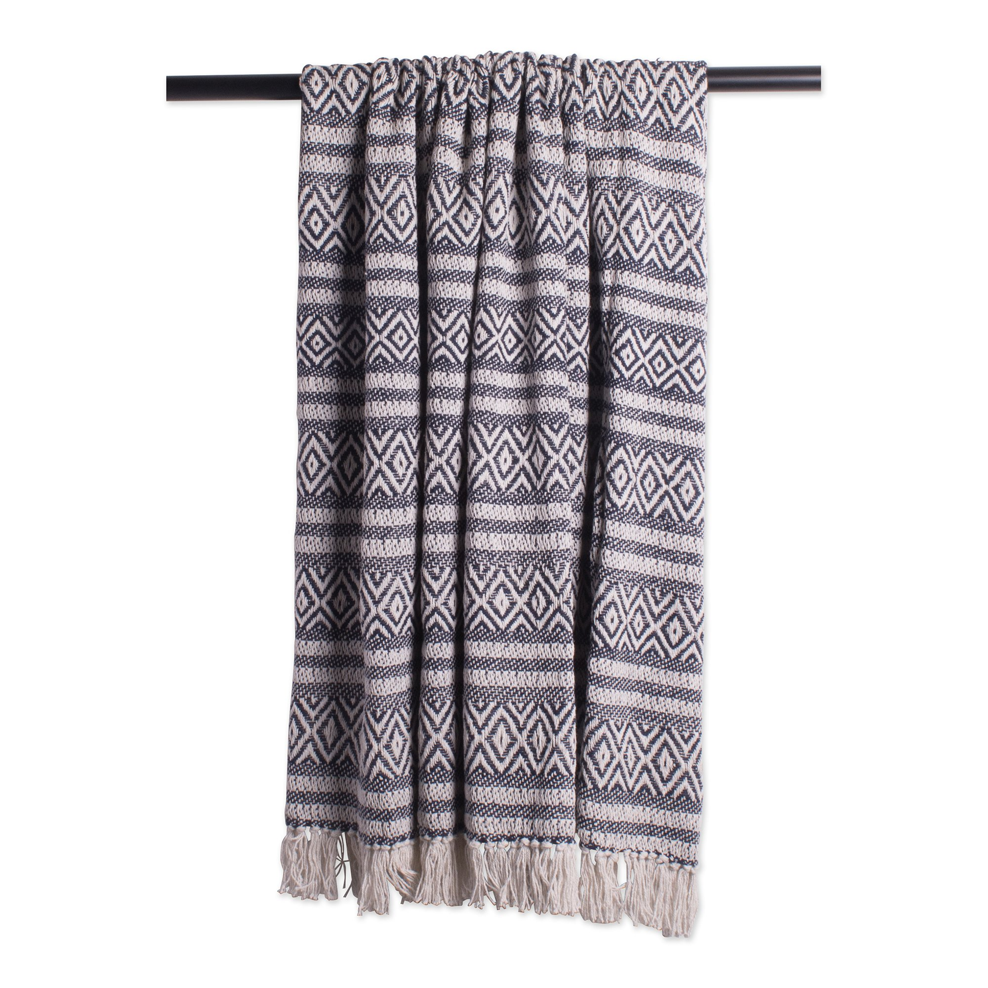 DII Rustic Farmhouse Cotton Adobe Stripe Blanket Throw with Fringe For Chair, Couch, Picnic, Camping, Beach, & Everyday Use , 50 x 60'' - Adobe Stripe Navy