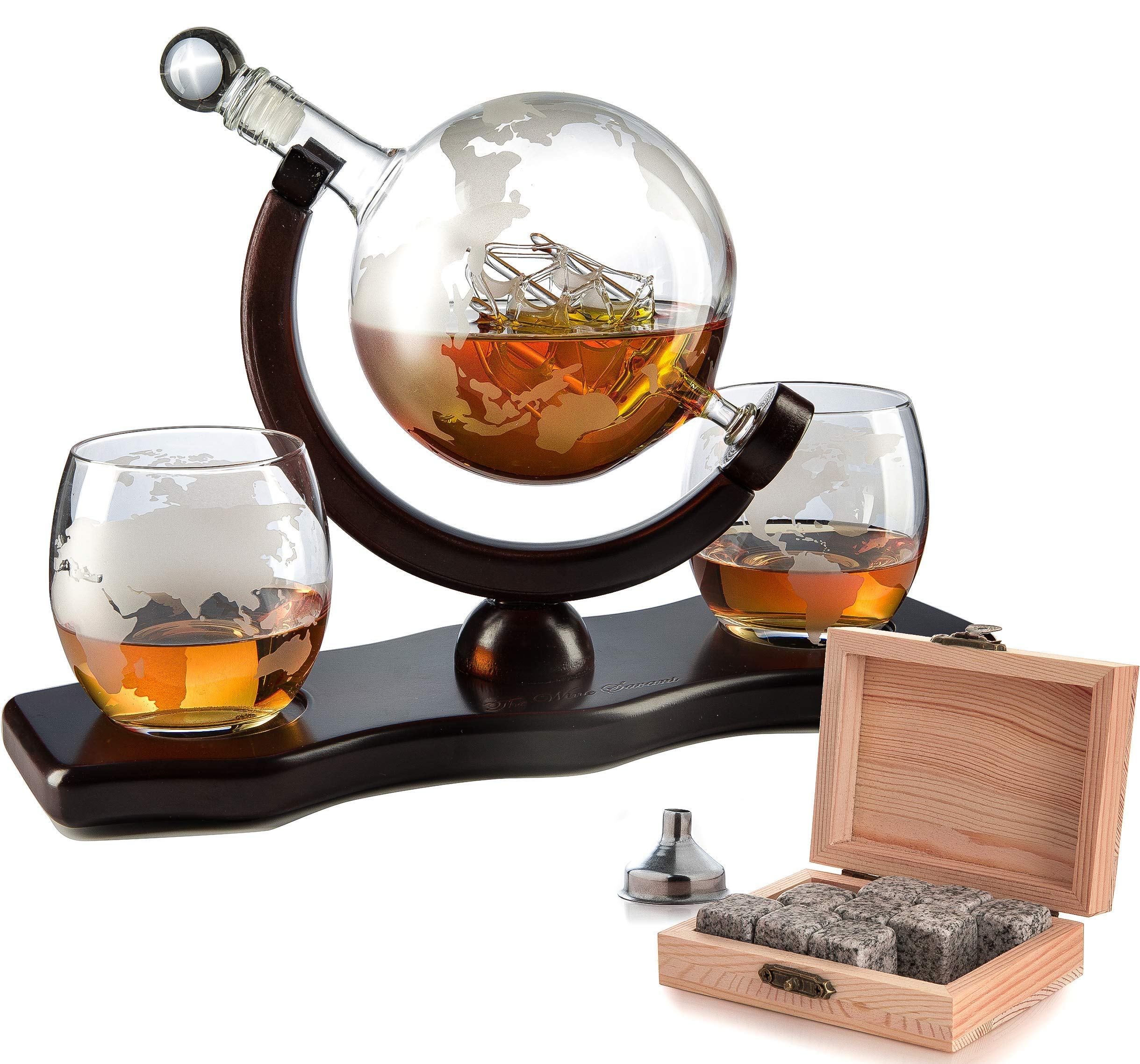The Wine Savant World Decanter - With 2 Globe Glasses, Perfect Gift, Includes Whiskey Stones For Whiskey, Scotch, Bourbon or Wine Matching Globe Glasses, HOME BAR DECOR by The Wine Savant
