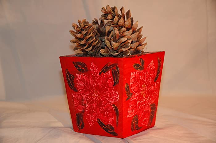 hand painted christmas flower potmerry christmas potwood box planterflower arrangement - Wooden Box Christmas Decorations