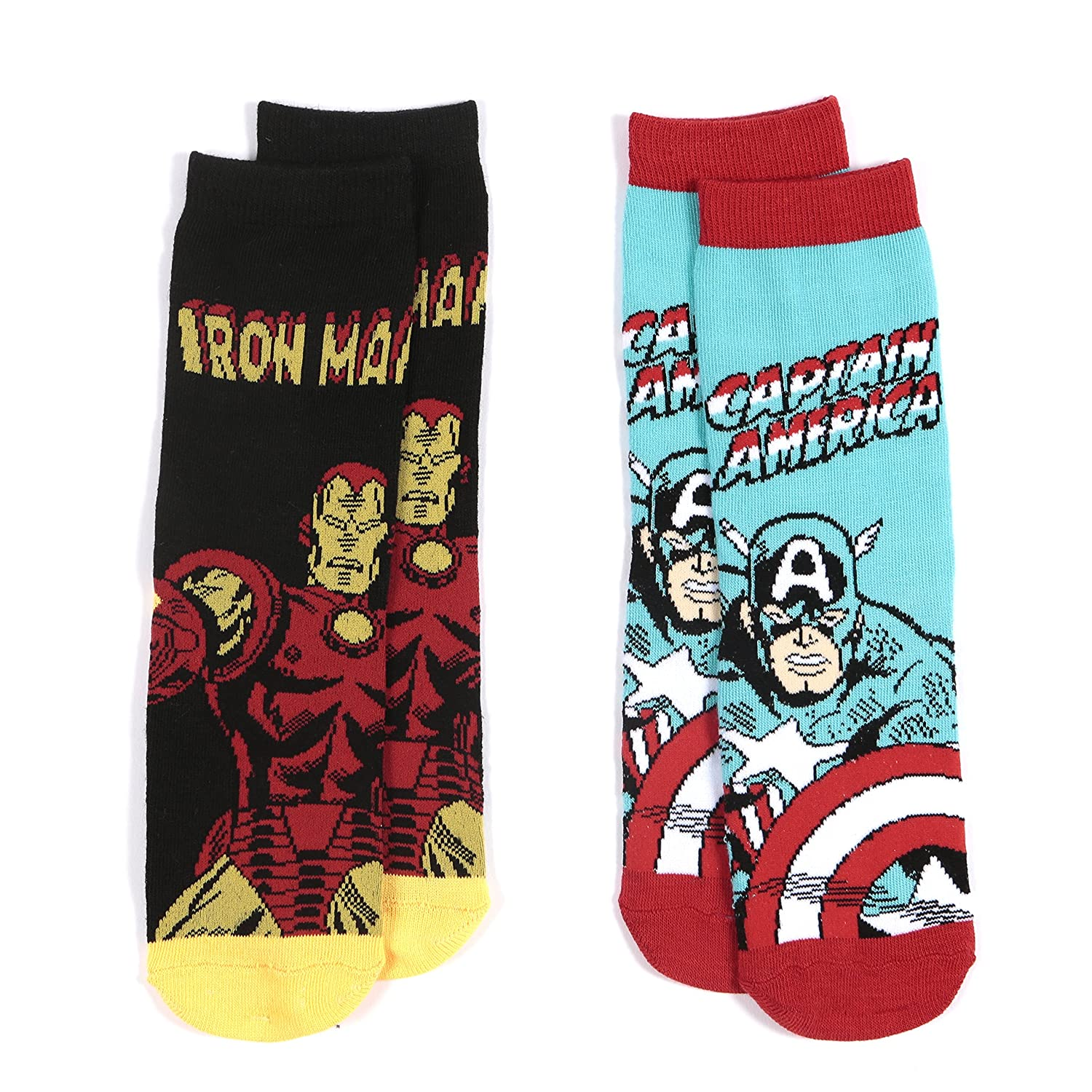 Boys Ankle Socks AVENGERS - 2 Pack Pair - Pack 1 Combination - Captain America & Iron Man UK Size 9-12 (EU 27-30)