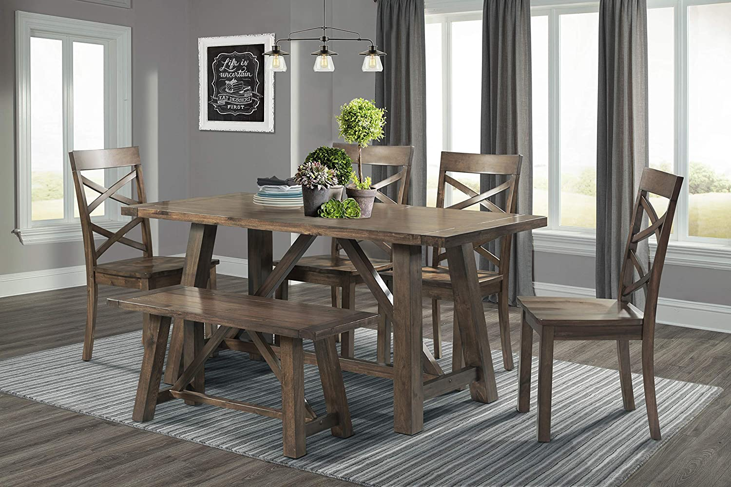 Amazon Com Picket House Furnishings Regan 6pc Dining Set Table 4 Side Chairs Bench Table Chair Sets