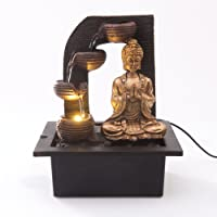 Golden Buddha with 4 Water Cups Indoor Water Fountain with LED Light | Size 21*17.5*25 Cm | 3 Pin UK Plug Included |