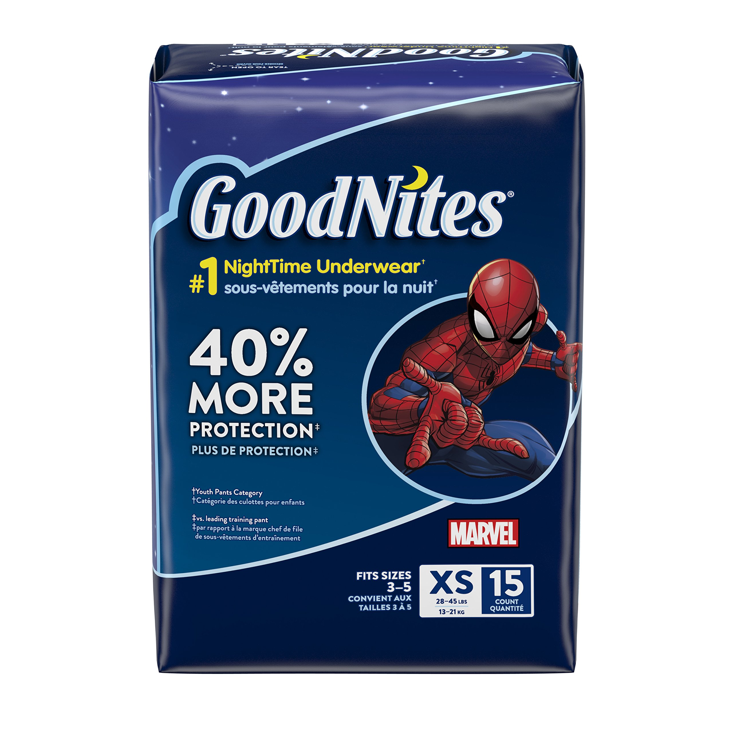 GoodNites Bedtime Bedwetting Underwear for Boys, XS, 15 Count (4 Packages), Packaging May Vary